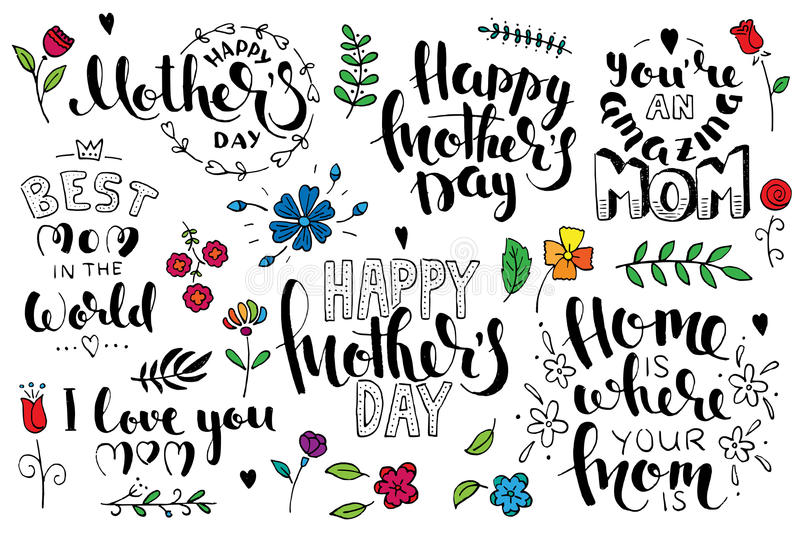 Mother`s day brush pen handwritten lettering set royalty free illustration