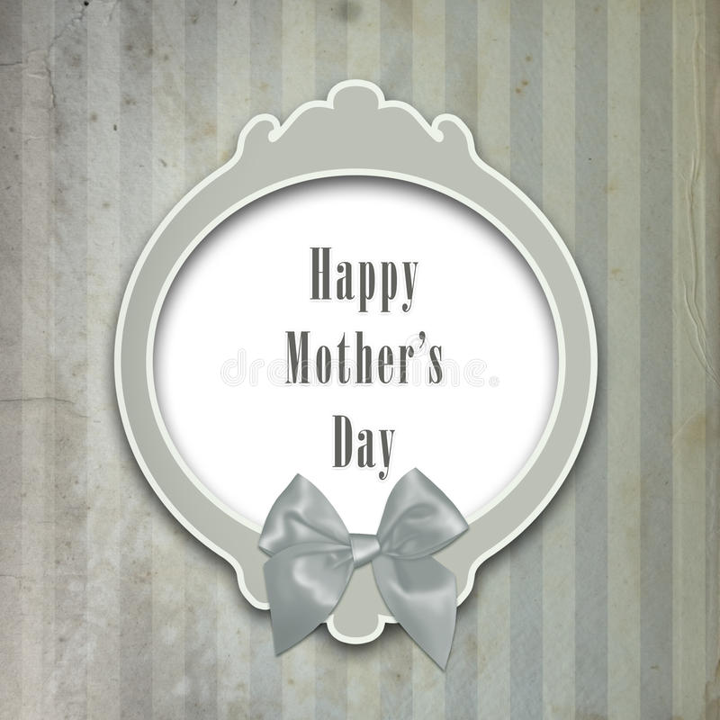 Mother's day card. Happy mother's day card with ribbon royalty free illustration