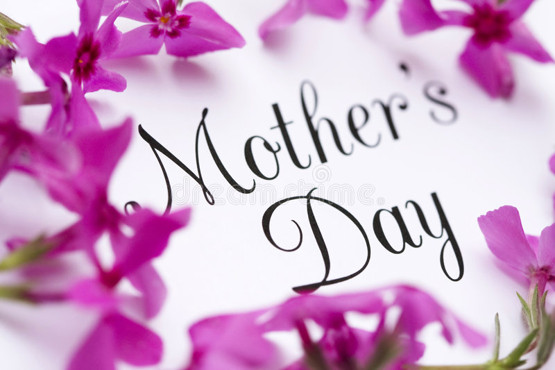 Mother's Day Card. In elegant type surrounded by pink flowers stock photos