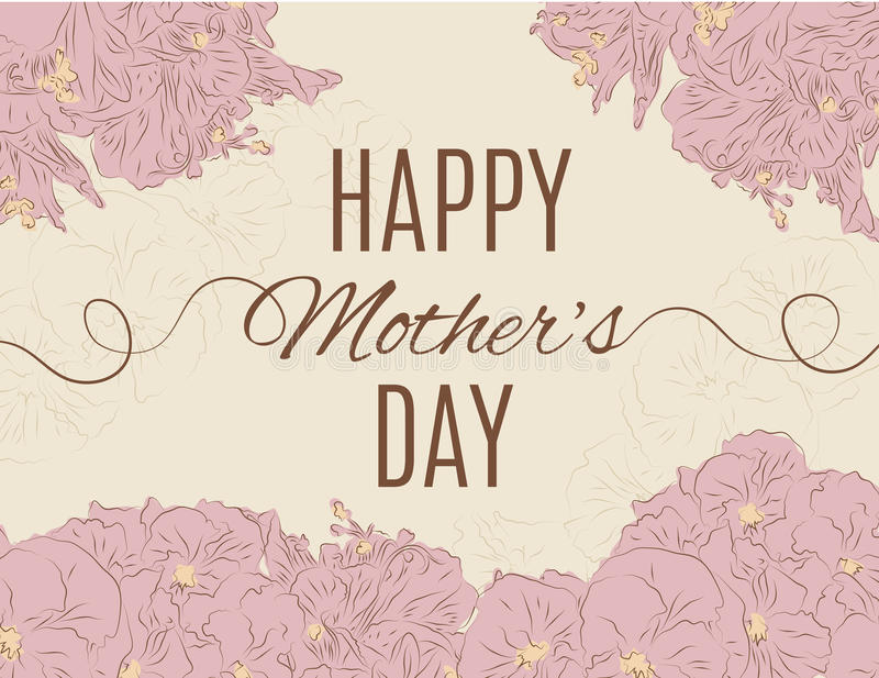 Mother's day card with hand drawn flowers. Mother's day card with light pink hand drawn flower background vector illustration