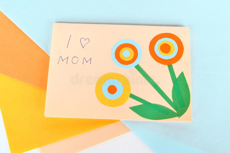 Mother`s day card - handmade crafts stock image