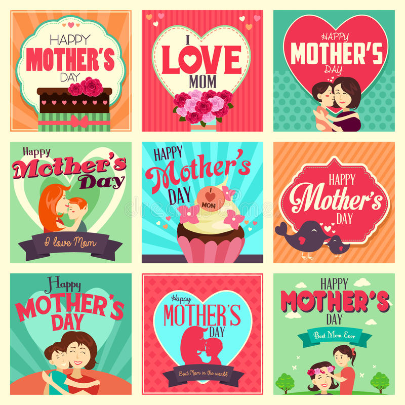 Mother's day cards royalty free illustration