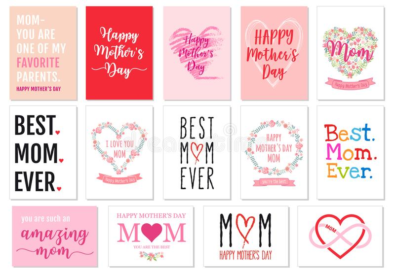 Mother`s day cards, vector set stock illustration