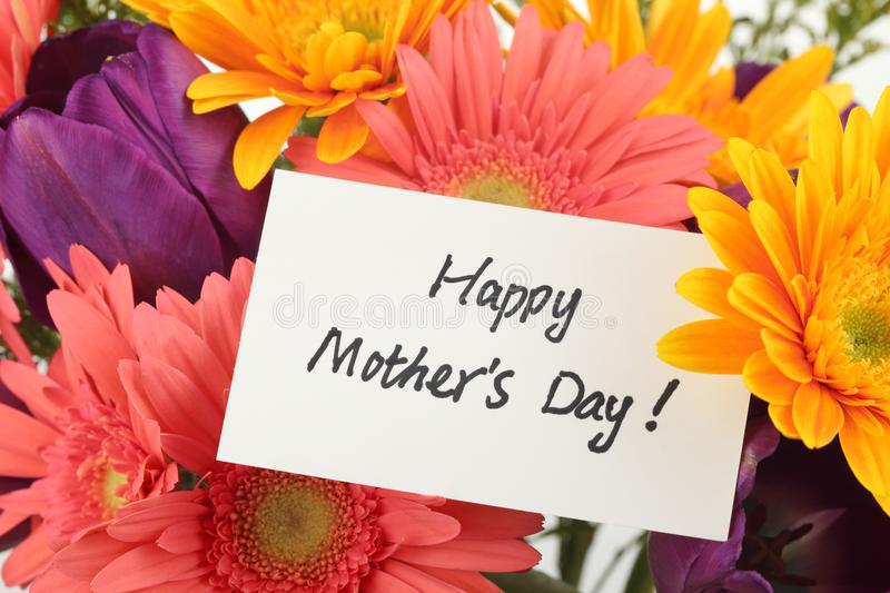 Mother's Day Concept. Post card with colorful flowers background royalty free stock photography