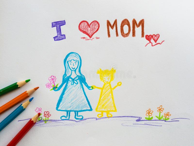 Mother`s day concept. Greeting card Happy Mothers Day drawn by p royalty free stock photo