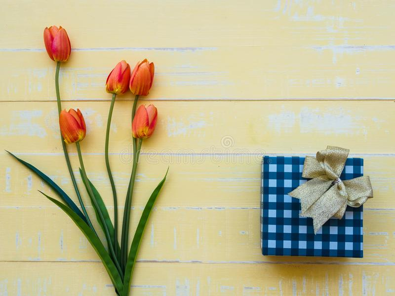 Mother`s day concept. tulips flower and giftbox on pastel yello stock image