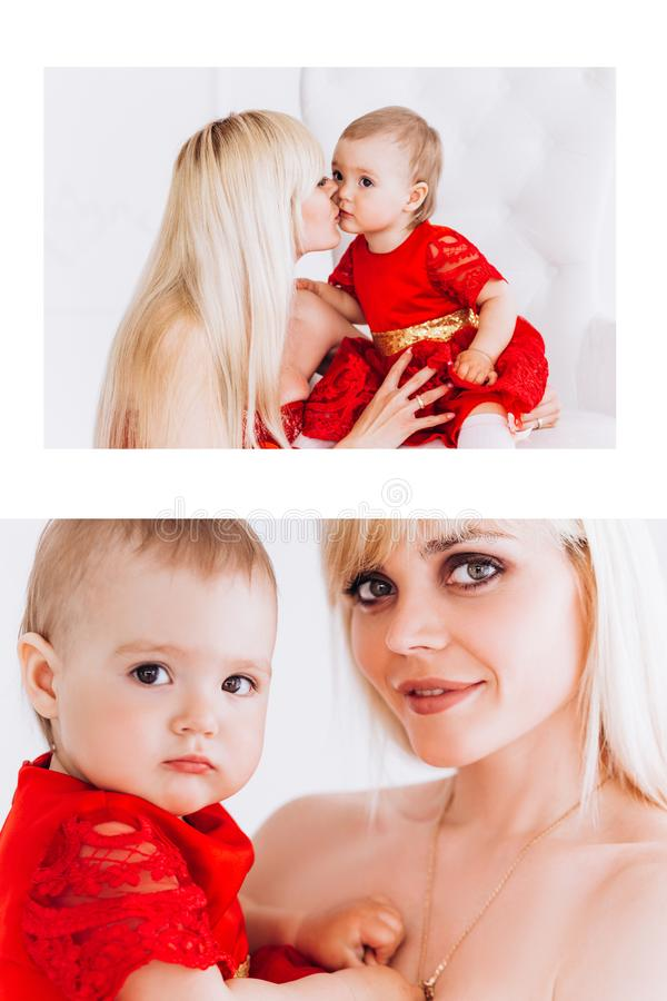 Mother`s Day and daughters. Advertising family values and traditions. Nice, family, good photo of mother and daughter in red dresses in the studio. Mother`s Day royalty free stock photos