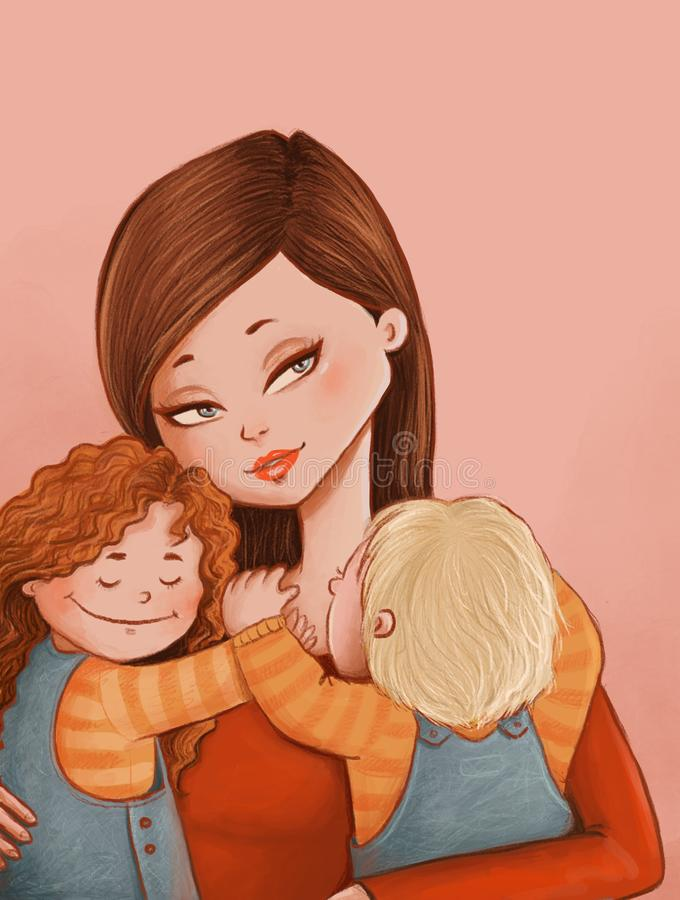 Mother`s Day. Digital drawing of a beautiful mother and her two happy kids vector illustration