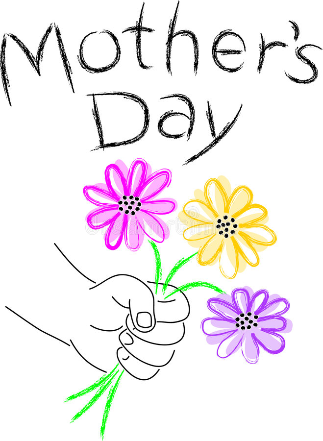 Mother's Day/eps. Illustration of a child's hand offering flowers with the headline Mother's Day. eps available