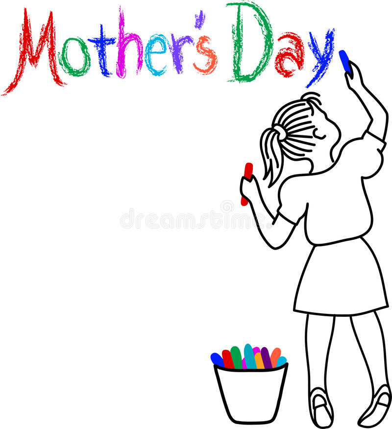 Mother's Day Girl. Illustration of a girl drawing the words Mother's Day in colorful chalk