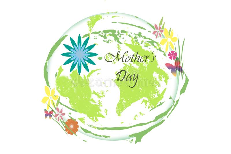 Mother`s day - globe with flowers illustration on white vector illustration