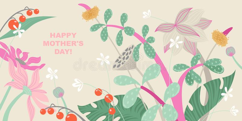 Mother`s Day greeting banner with flowers in pastel colors stock illustration