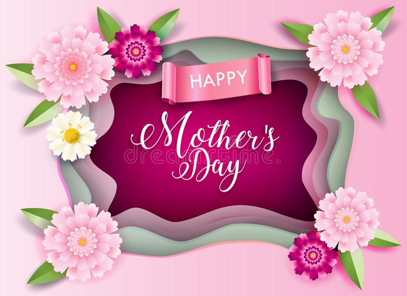 Mother`s Day greeting blossom floral decoration card vector illustration