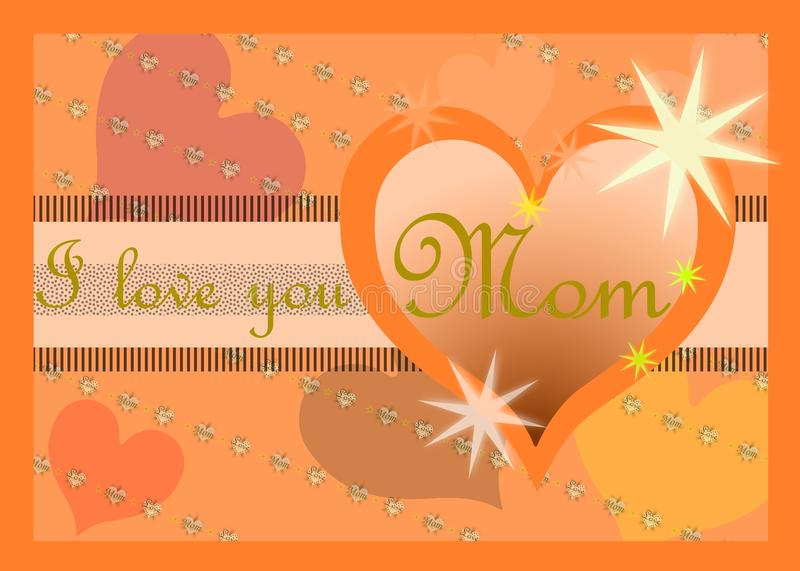 Mothers day greeting card with heart stock photos