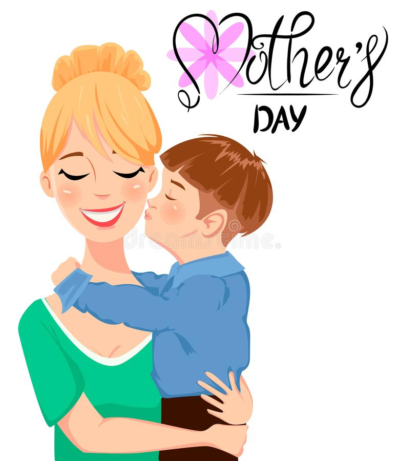 Mother`s day greeting card. Child hugging and kissing his beautiful mom. Cute cartoon characters and handwritten lettering. Vector illustration on white vector illustration