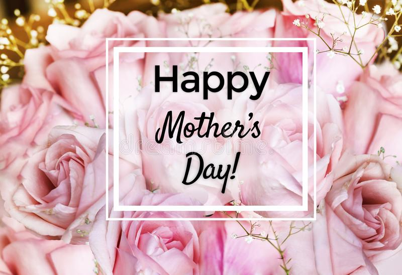 Mother`s Day Greeting Card with Rose Flowers Background. Mother`s day greeting card with roses flowers background royalty free stock images