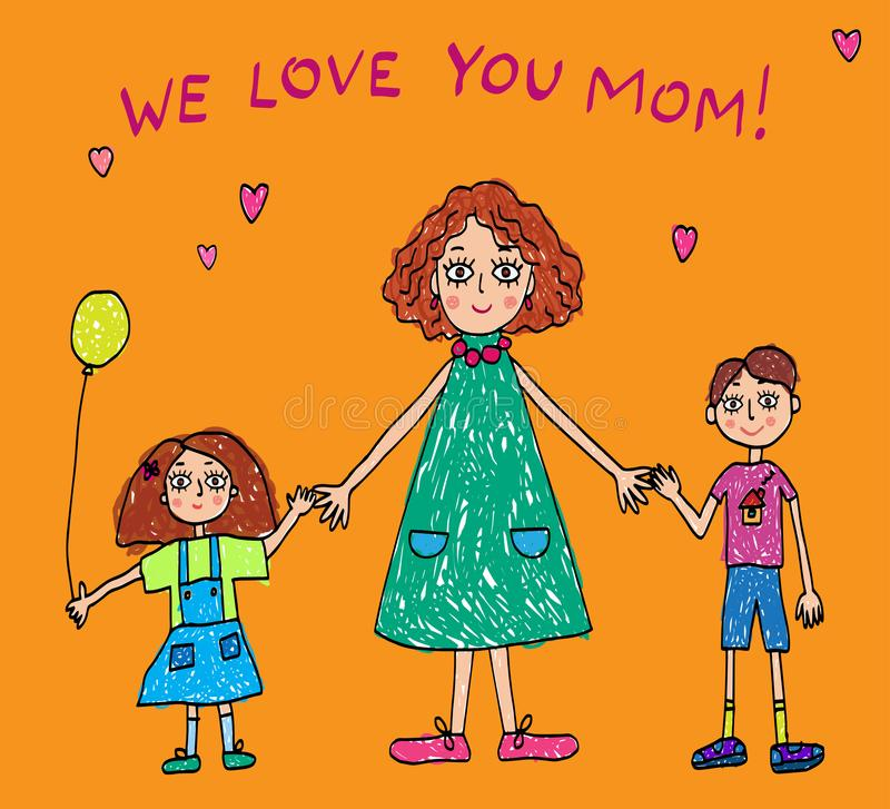 Kids Drawing. The Mother`s Day royalty free illustration