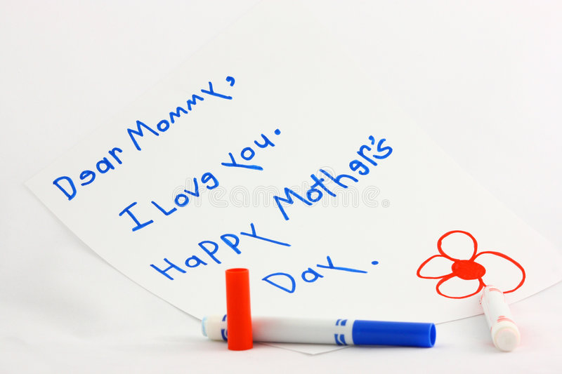 Mother's Day Note. A child's Mother's Day note written on white paper with red and blue markers, photographed on a white background stock images