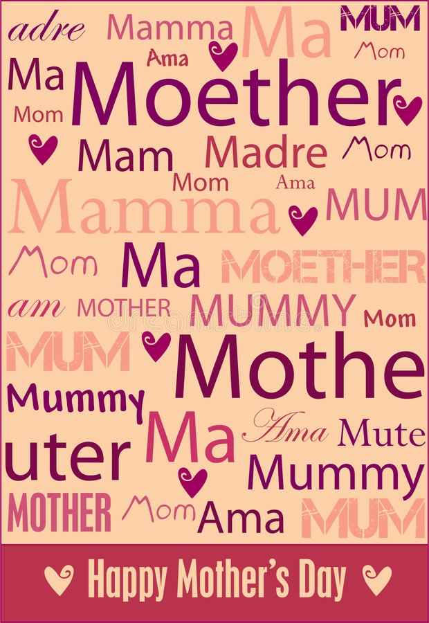 Mother's Day poster. A cheerful Mother's Day poster with words for mother in a variety of languages. Also in vector format