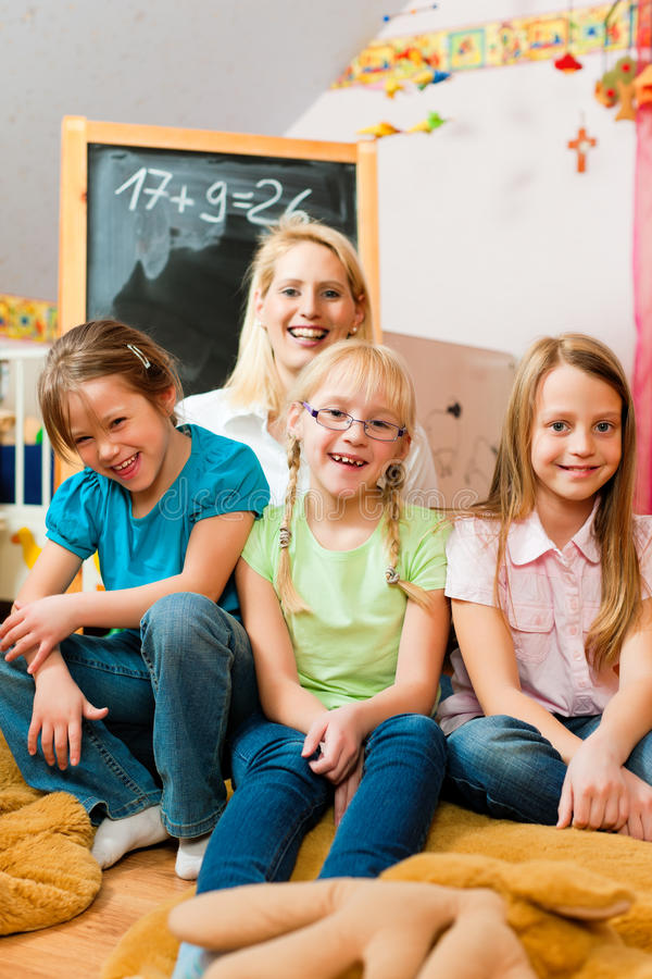 Download Mother with schoolchildren stock image. Image of daughter - 18543967