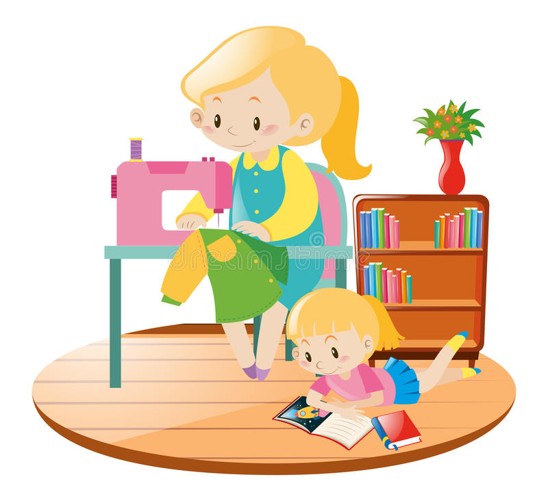 Mother sewing and kid reading in room stock illustration