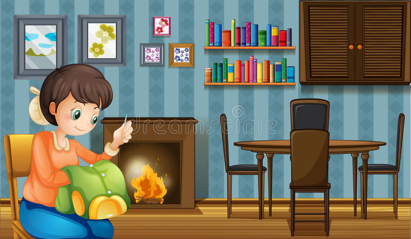 A mother sewing near the fireplace vector illustration