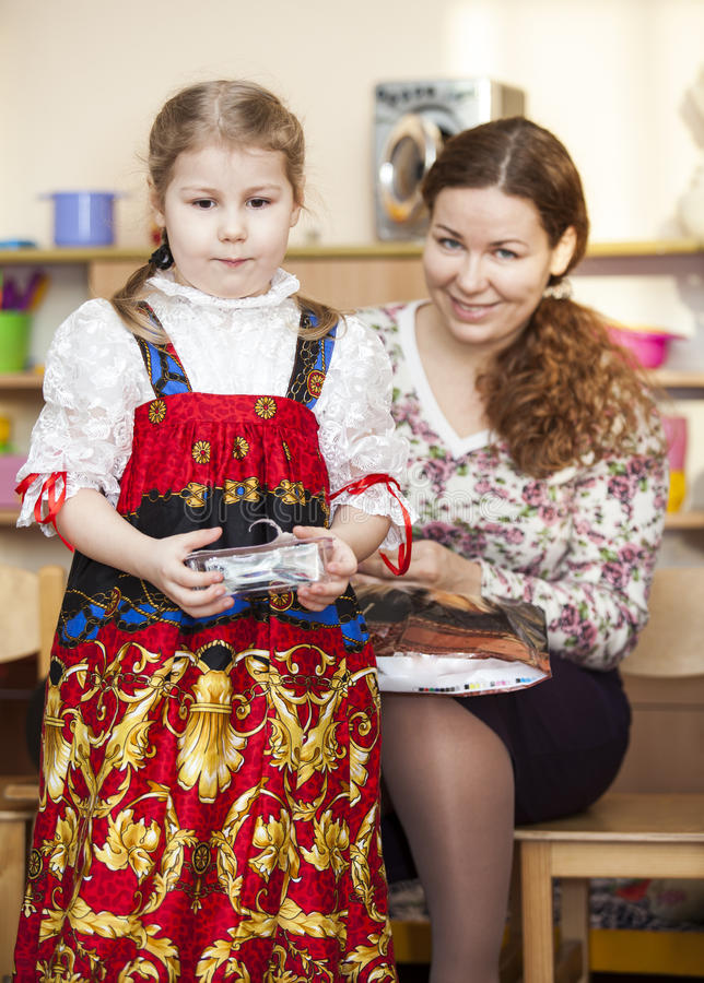 Download Mother And Small Daughter In Russian Traditional Sarafan Stock Photo - Image: 30498308