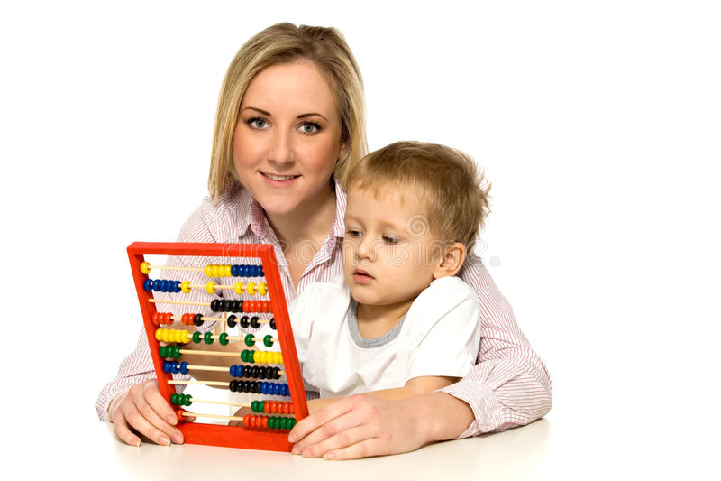 Download Mother and Son with Abacus stock photo. Image of counter - 18025706