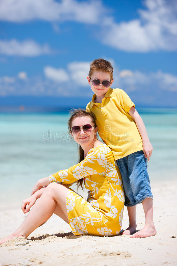 Download Mother and son at beach stock photo. Image of lifestyle - 26477322