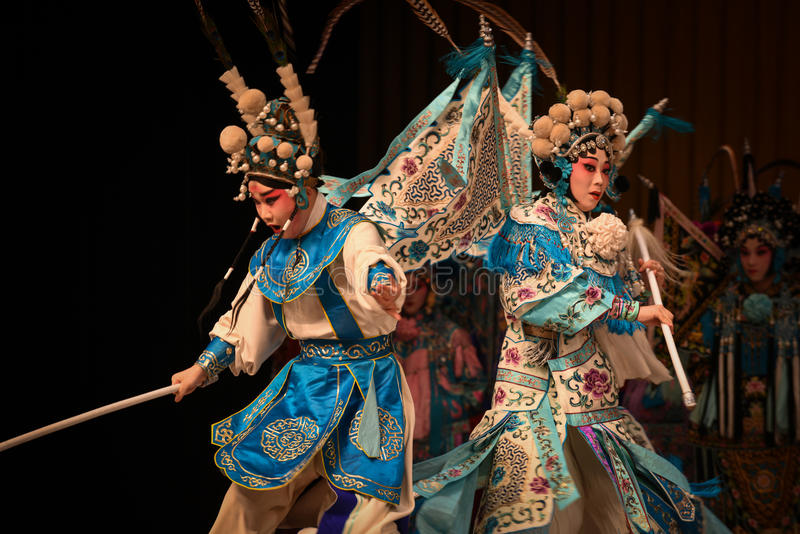 """Mother and son of the contest- Beijing Opera"""" Women Generals of Yang Family"""". This opera tells a patriotic story how does an old woman of a hundred stock photo"""