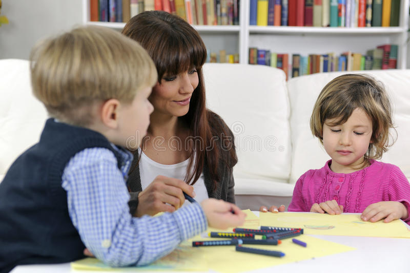 Download Mother, Son And Daughter Drawing Stock Photo - Image: 23527354