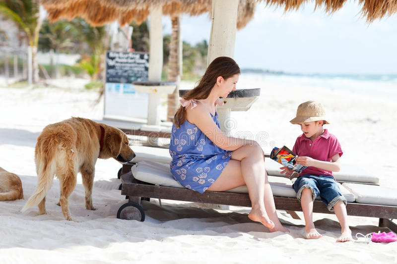 Download Mother, son and dog stock photo. Image of young, beach - 20446576