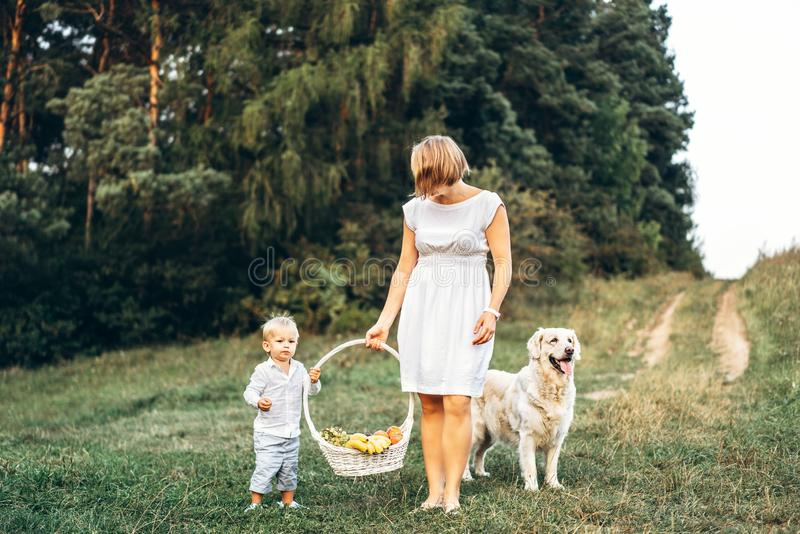 Mother with son and dog on picnic outdoor royalty free stock image