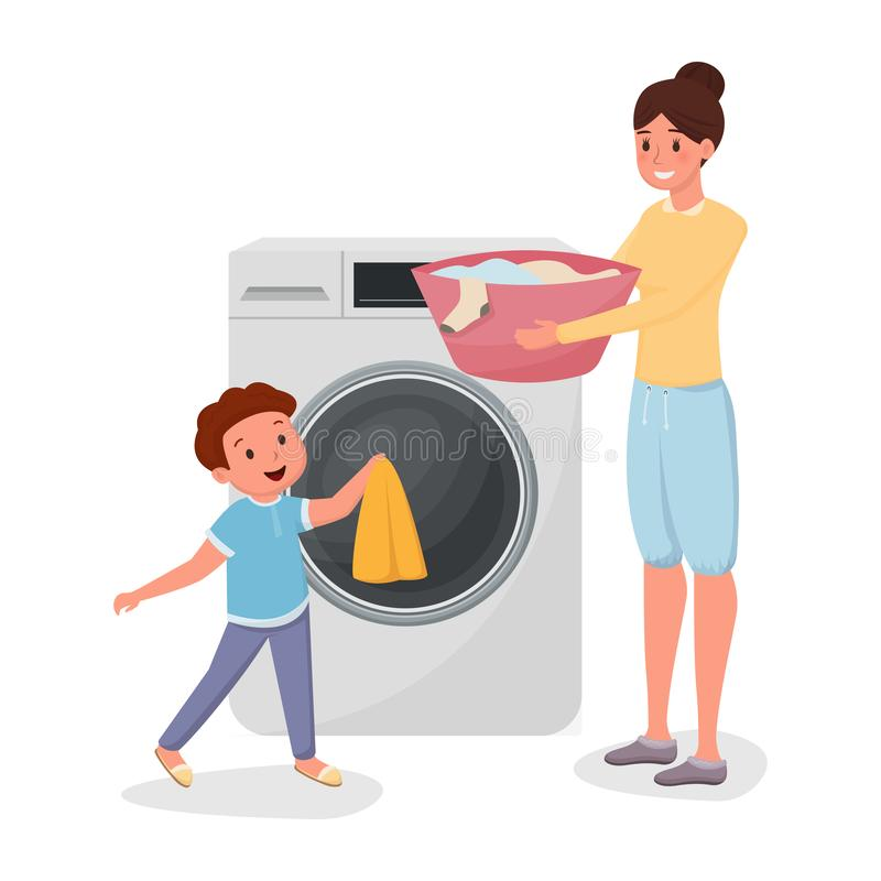 Mother with son doing laundry characters. Child helping mom doing domestic chores isolated illustration. Parent with kid. Loading clothes in modern washing royalty free illustration