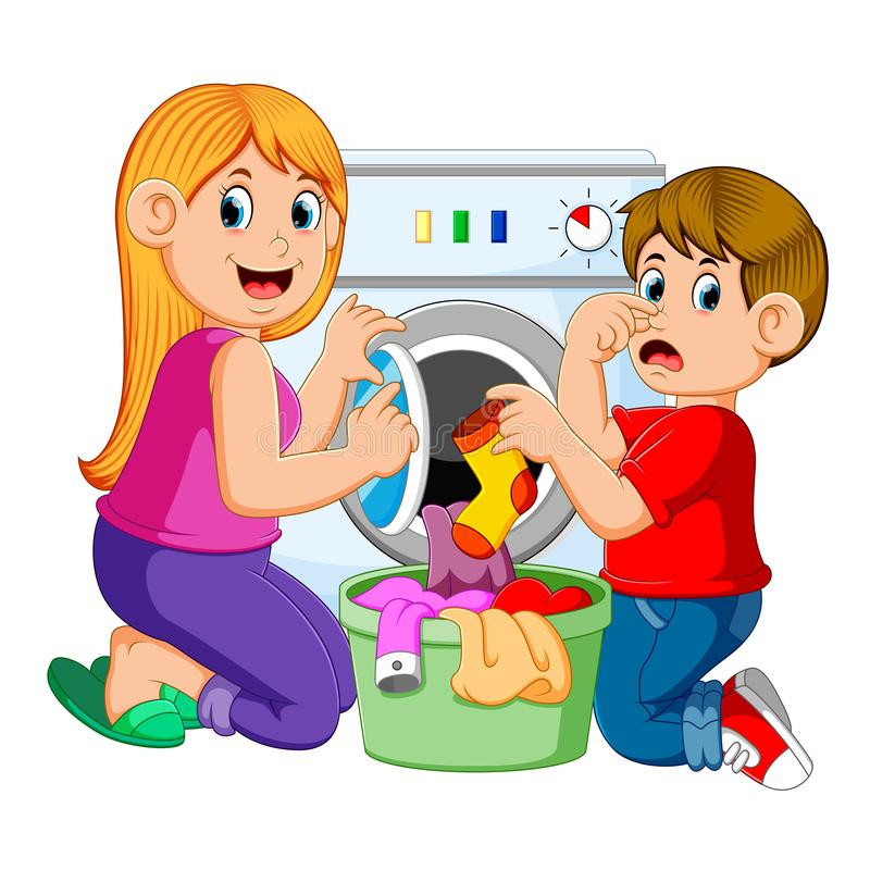 Mother And Son Doing Laundry. Illustration of Mother And Son Doing Laundry royalty free illustration