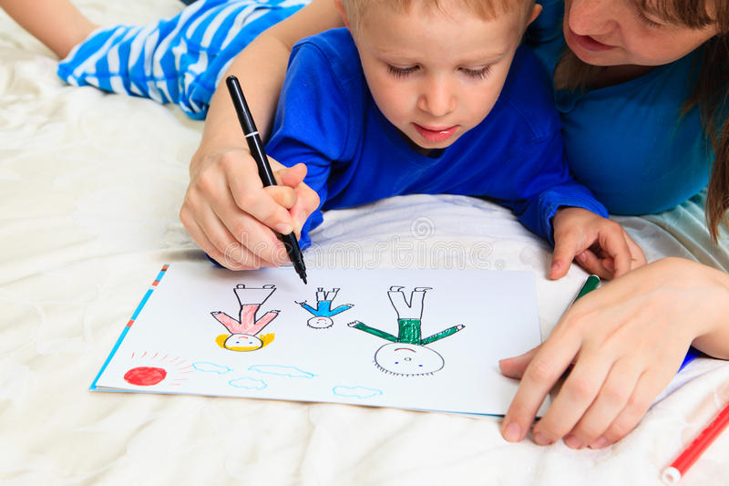 Mother and son drawing family royalty free stock images