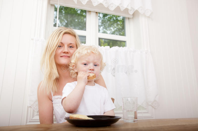 Mother and Son Eating Meal royalty free stock photo