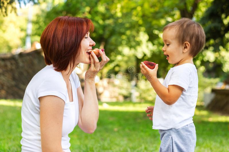 Mother and son eating peach on a picnic in the park. Mom and son sharing one fruit outdoor. Healthy parenting concept royalty free stock image