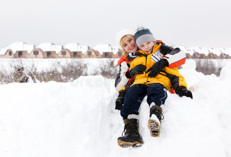 Download Mother And Son Enjoying Beautiful Winter Day Stock Image - Image: 23219059