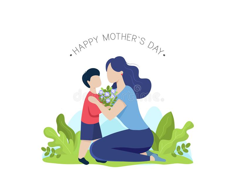 Mother and son with flower bouquet. Happy mothers day greeting card. Vector royalty free illustration