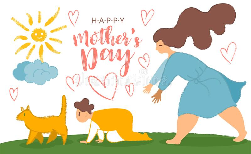 Mother and son. Fun cartoon post card for mother s day with cat, crawling baby and mom with big limbs and noisy texture. Mother s day card, background. Vector vector illustration
