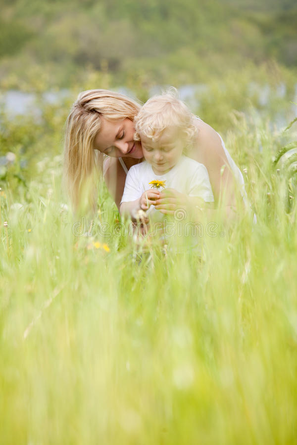 Mother and Son in Green Meadow stock photos