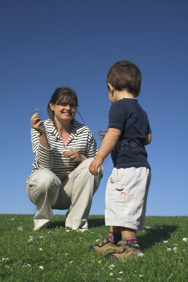 Mother and son having a good stock photo