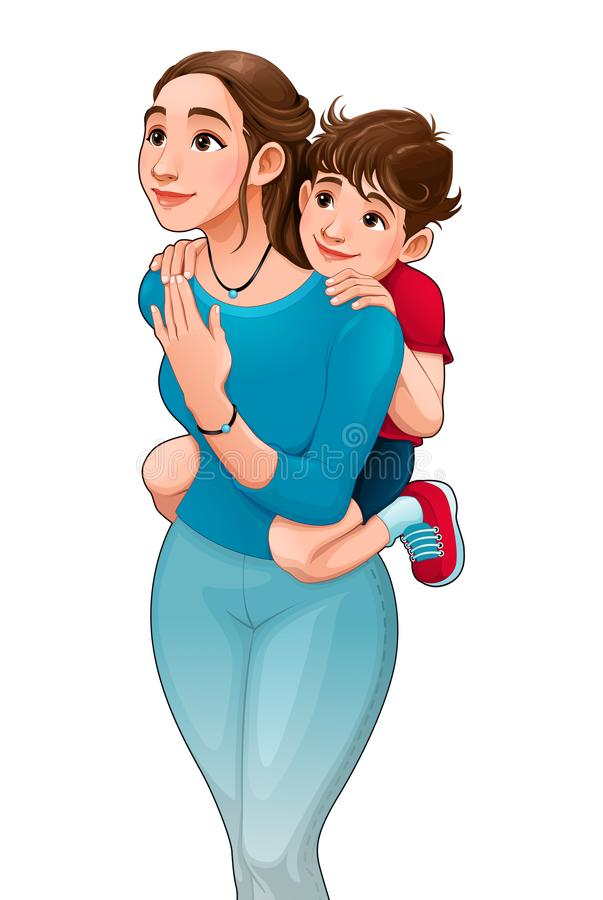 Mother with son on her back. Vector cartoon isolated characters vector illustration