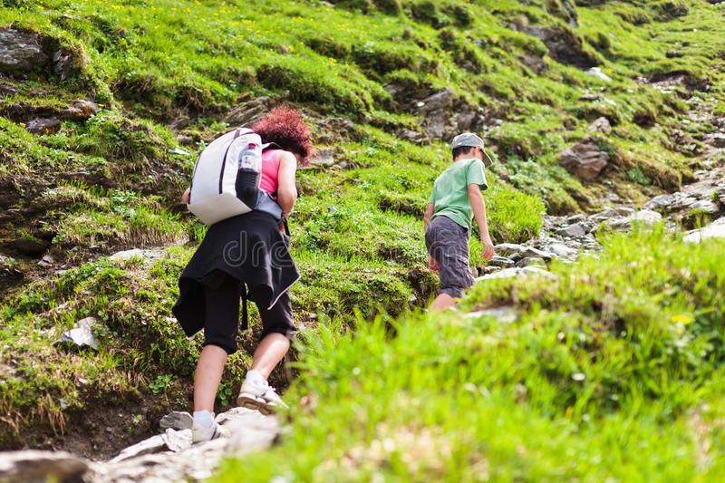 Mother And Son Hiking Royalty Free Stock Photos