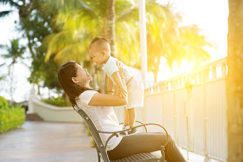 Mother and son on holidays stock images