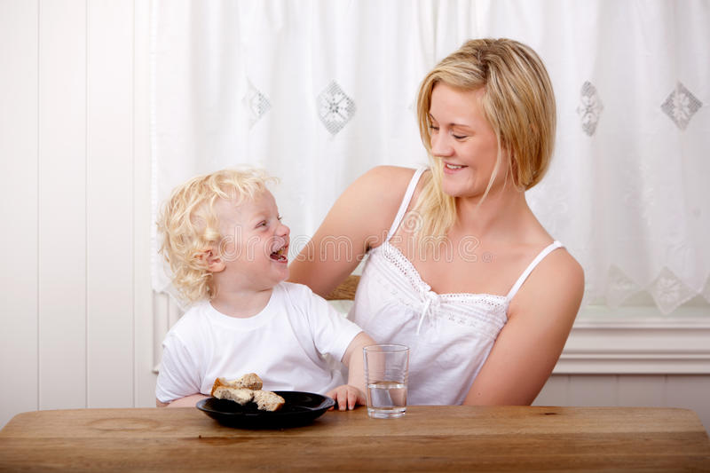 Mother and Son Laughing stock images