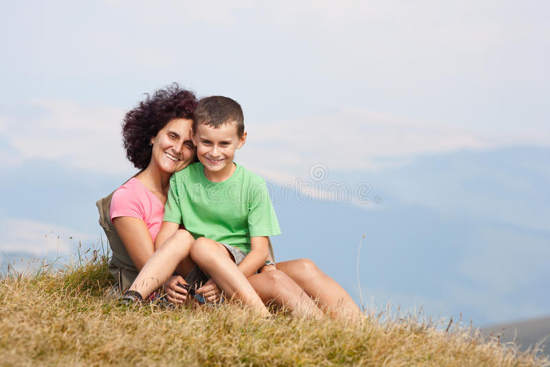 Mother And Son In The Mountains Royalty Free Stock Image