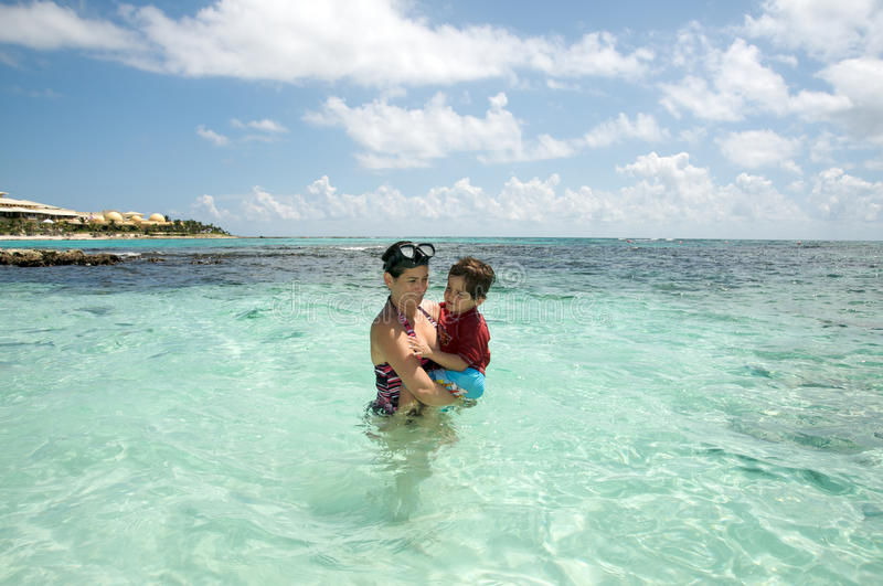 Download Mother And Son In The Ocean Stock Photo - Image of vacations, mother: 16272778
