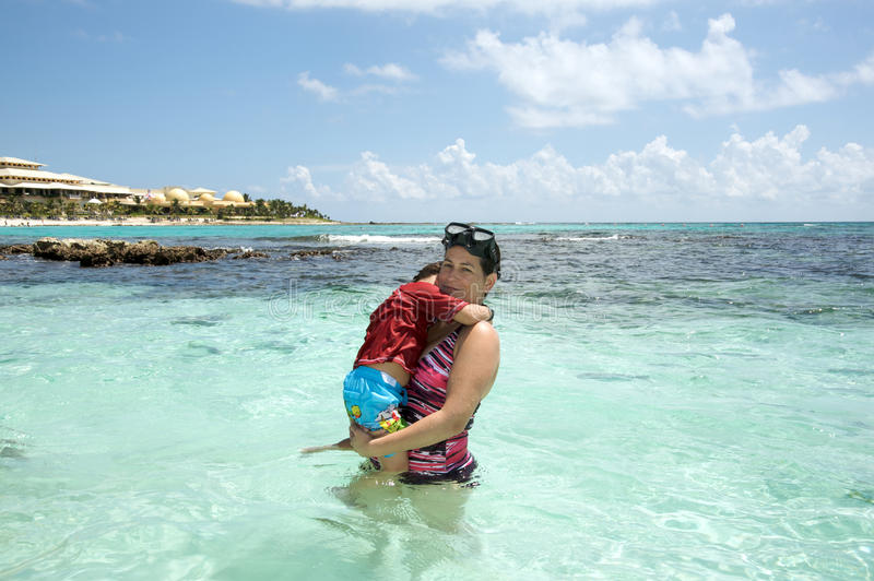 Download Mother And Son In The Ocean Stock Image - Image: 16272805